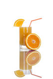 Glass of orange juice with fruit isolated on white Royalty Free Stock Photos