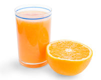 Glass of orange juice and a half of fruit. Isolated with clipping path Royalty Free Stock Photos