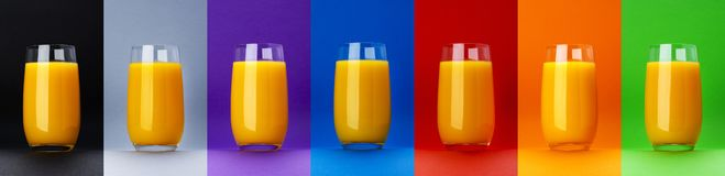 Glass of orange juice isolated on different color backgrounds, fresh citrus juice, orange cocktail, close-up. Glass of orange juice isolated on different color royalty free stock photo