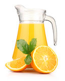 Glass of orange juice and orange fruits isolat Royalty Free Stock Photography