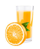 Glass of orange juice and orange half with leaves. Isolated on white background royalty free stock photography