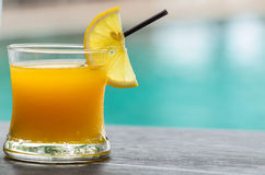 Glass of orange juice with orange slice Stock Photo