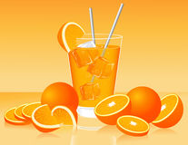 Glass of orange juice and oranges Stock Photos