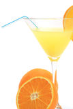 Glass of orange juice with oranges. Isolated on a white background stock photos