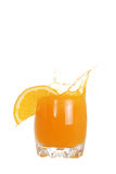 Glass of orange juice splash Royalty Free Stock Photos