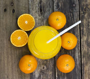 Glass of orange juice top view on the table Royalty Free Stock Photography