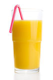 Glass of orange juice with tube Stock Photography