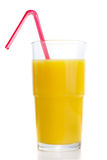 Glass of orange juice with tube Stock Image