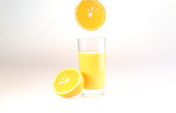 Glass of orange juice on a white background. Juice from fresh oranges stock photo