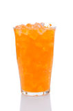 Glass of Orange Soda. A cold glass of orange soda filled with ice. Vertical format with a white background Stock Photography