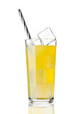 Glass of orange soda drink cold with ice cubes Royalty Free Stock Images