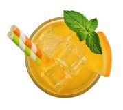 Glass of orange soda drink Royalty Free Stock Image