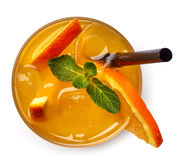 Glass of orange soda drink Royalty Free Stock Photography