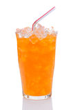 Glass of Orange Soda With Drinking Straw. Closeup of a Glass full of ice and Orange Soda With Drinking Straw. Vertical format over a white background with Royalty Free Stock Photo