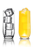 Glass of orange soda with ice cubes empty glass Stock Photography