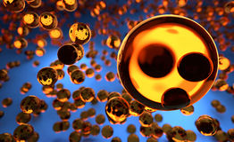 Glass Orange Spheres Hovering in the Air. Rendered 3D Graphic, Blurred Glass Balls in Background stock illustration