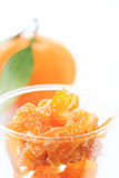 Glass of orange / tangerine candied peel Royalty Free Stock Photo