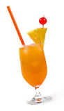Glass of orange tropical cocktail  on white Royalty Free Stock Photos