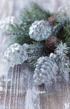 Glass ornaments and spruce branch Royalty Free Stock Photos