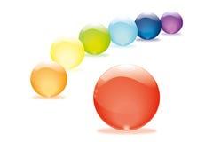 Glass pärlor i regnbågefärger Royaltyfria Bilder