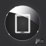 Glass pad button icon on metal background. Vector Royalty Free Stock Image