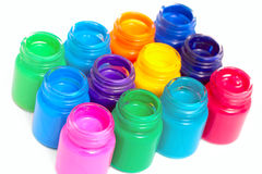 Glass paint pots #2 Royalty Free Stock Photos