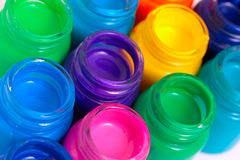 Glass paint pots Royalty Free Stock Image