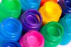Glass paint pots. Lots of glass paint pots Royalty Free Stock Image