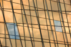 Glass panel facade windows background. Modern building glass panel facade double exposure. Abstract windows background Stock Images