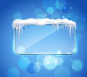 Glass Panel With Icicles Realistic. Rectangular glass pane frame with rounded corners and icicles on top realistic image blue bubbles background vector Stock Photos