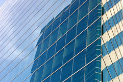 Glass panels. Detail of glass office block stock photography