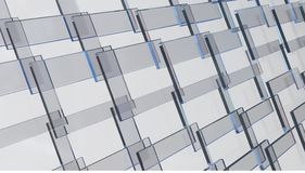 Glass panels. A wall of glass planes of the rectangular form Royalty Free Stock Photo