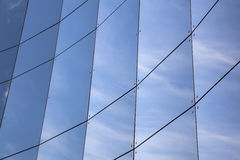 Glass panes on facade of trade building Royalty Free Stock Photo