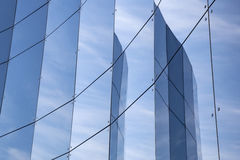 Glass panes on facade of trade building Royalty Free Stock Photography