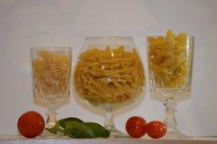 Cocktail italian pasta. Glass pasta tomato basil Stock Photography