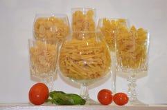 Cocktail italian pasta. Glass pasta tomato basil Stock Photo