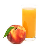 Glass with peach juice (isolated) Royalty Free Stock Photo