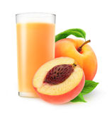 Glass of peach juice stock images