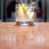 Glass of peach mojito. On marble table Stock Images