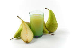 Glass of pear juice Stock Photos