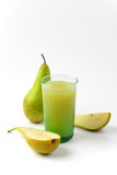 Glass of pear juice Stock Photo