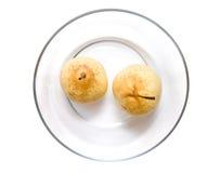 glass pears plate två Royaltyfri Foto