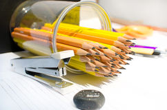 Glass pencil for work in office Royalty Free Stock Image