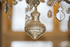 Glass pendant detail of hall chandelier Royalty Free Stock Image
