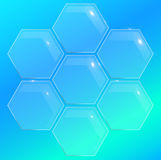 Glass pentagon polygon element for disign. Glossy banner Stock Images