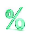 Percent sign isolated. A green glass percent symbol on a white background Stock Photos