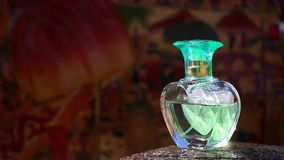 Glass perfume bottle footage day light