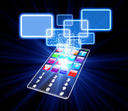 Glass phone touchscreen choice concept. Isolated on black Royalty Free Stock Photo