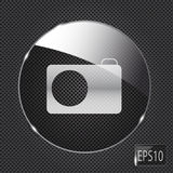Glass photo button icon on metal background. Stock Image