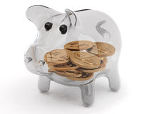 Glass piggy bank. With coins on white background Royalty Free Stock Photography
